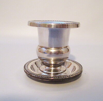 Sterling Toothpick Urn + Under Plate Hunt Silver Company Hallmarked USA Made