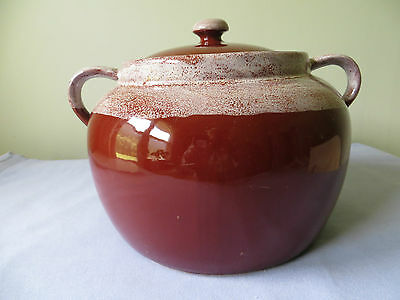 #3 Canada Bean Pot With Lid Brown With Tan Drip Glaze Double Handle