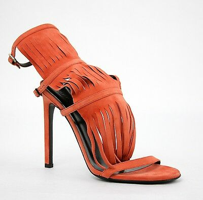 a7f6bc8aaab New Gucci Orange Suede Fringed Becky Gladiator Sandals Shoes 347284 6525
