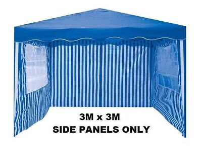 3PC BLUE & WHITE 3m x 3m GARDEN GAZEBO REPLACEMENT SIDE WALLS PANELS SET