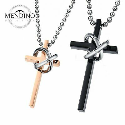 MENDINO His Hers Stainless Steel Pendant Necklace Chain Double Rings Cross Love