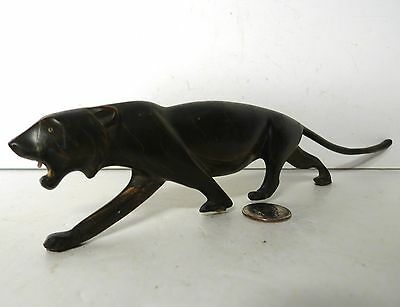 """Vintage Hand Carved Horn Lion Statue Sculpture 10 1/2"""" Long !!! Very nice"""