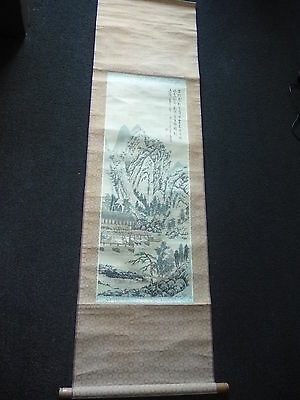 Vintage Chinese Landscape Ink & Watercolour Painting on Silk Scroll - Signed