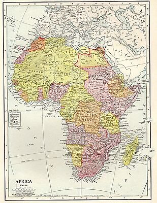 1910 Antique AFRICA Map of Africa Gallery Wall Art Collectible Map 3035