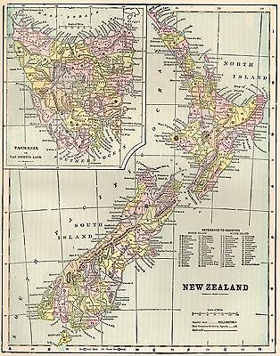 1899 Antique NEW ZEALAND Map   Vintage Collectible 1900s Map of New Zealand 3038