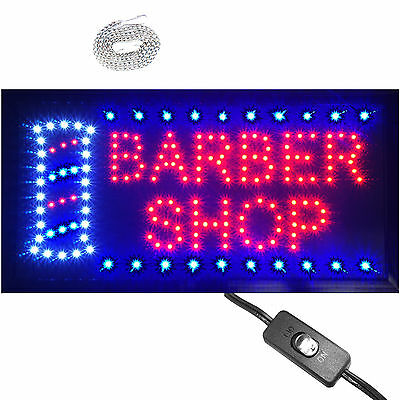 """Bright Animated LED Barber Shop Open window Sign 19x10""""  Beauty Salon hair neon"""