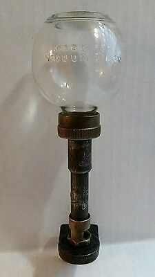 Vintage Advertising Vacuum Oil Co. Drip Oiler Brass Embossed Glass Steam Engine