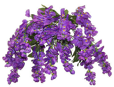PURRPLE WISTERIA BUSH ~ 14 Blooms Silk Flowers Wedding Bouquets Centerpieces