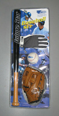 Baseball Starter Set Junior: Ball, Fang-Handschuh, Batting Glove u. Holzschläger