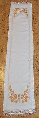 Swedish vintage hand-embroidered linen runner with yellow rose pattern, fringes