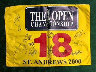 Open Golf Flag St Andrews 2000 SIGNED Autograph 12 Winners Champions AFTAL COA