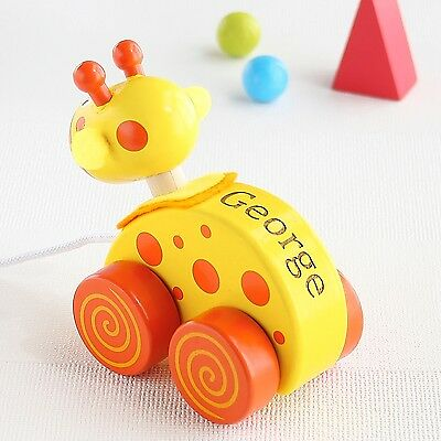 Yellow Giraffe Wooden Pull Along Toy (Optional Personalisation)