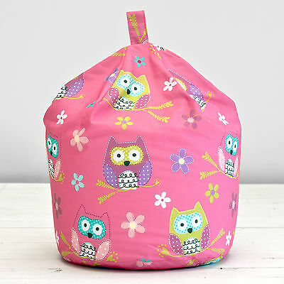 Owl Pink Purple Blue Floral Kids Childrens Cotton Beanbag Bean Bag With Filling