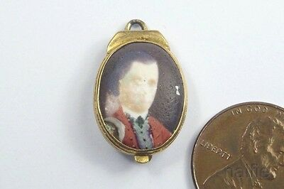 ANTIQUE GILT PORTRAIT ENAMEL JACOBITE LOCKET c1760 BONNIE PRINCE CHARLIE ?