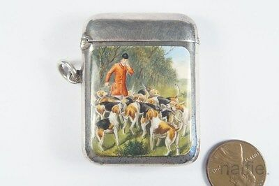 ANTIQUE ENGLISH EDWARDIAN STERLING SILVER & ENAMEL FOX HUNTING VESTA CASE c1903