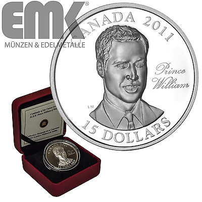 Kanada - 15 Dollar 2011 - Prinz William - Silber Ultra High Relief in PP