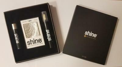 NEW Shine 2 Sheet Pack 24K WHITE Gold Rolling Papers King Cone Gift Set Box