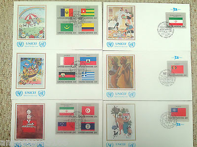 6 UNITED NATION OXFAM 'FLAG SERIES' FDCs. ALL NEW YORK FRANKED