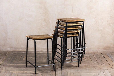 Vintage Stacking Lab Stools Industrial Reclaimed Timber And Metal Bar Stool