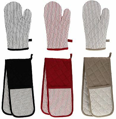 Ideal Textiles® Windsor Stripe Oven Gloves Mitt 100% Cotton