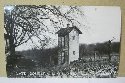 Vintage Photo Postcard 2 Story Outhouse  T*