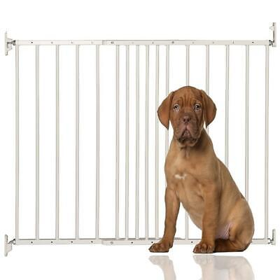 Safetots Extending Metal Pet Dog Cat Safety Wide Stair Gate Barrier White