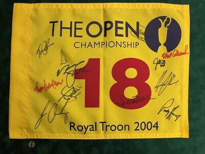 Royal Troon 2004 Open Golf Flag Signed Autograph 12 Winners Champions AFTAL COA