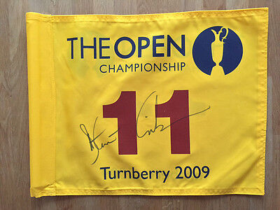 Stewart CINK Signed Turnberry 2009 Open Golf Course Pin Flag Autograph AFTAL COA