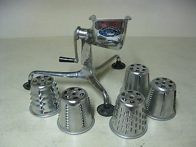 Vintage Saladmaster Food Processor Grinder Slicer With 5 Cones