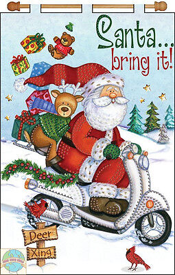 Jeweled Banner Kit ~ Design Works Santa Bring It! Christmas Scooter Ride #DW4125