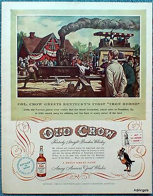 1953 Old Crow Col. Crow Iron Horse Steam Locomotive Train Frankfort Kentucky ad