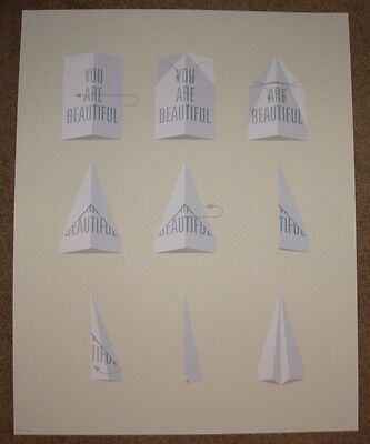 PAPER AIRPLANE you are beautiful silkscreen art print poster GALERIE F