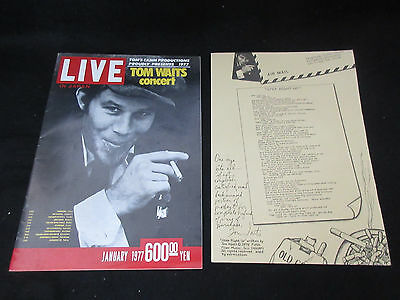 Tom Waits 1977 Japan Tour Book with Glued Ticket Stub Concert Program
