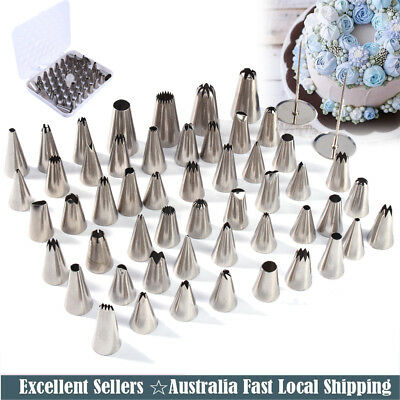 New 52pcs Cream Icing Piping Nozzles Set Kit Pastry Tips Cake Decorating Tool AU
