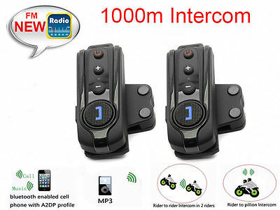 1x1000m BT-S1 Bluetooth Motorcycle Helmet Interphone Intercom Headset FM Radio