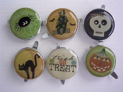 BRADS - HALLOWEEN - round 18mm mixed designs pk of 6 split pin craft scrapbook