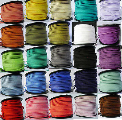 5/100Y Beading/Making Rope Lace Leather Cord  3*1.5mm Flat Korea Faux Suede Cord
