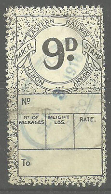 9D North Eastern Railway Parcel Stamp Cancelled Newcastle 1918 Parcels In Violet