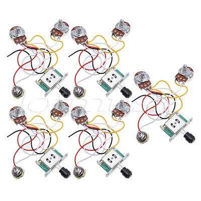 guitar prewired wiring harness for fender tele parts 3 way 250k guitar prewired wiring harness for fender tele parts 3 way 250k pots jack 5 pcs