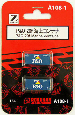 Rokuhan A108-1 Z Scale 20f Marine Container P&O 2 pcs