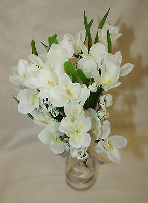 Artificial Silk Freesia Bunches Outdoor Bouquet - Ivory