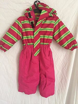 BNWOT: Girls pink and yellow striped winter snow suit / onesie, ages: 3-8 years