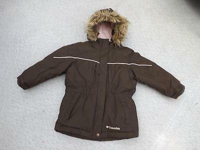 Winter Coat Childrens Size 3 Columbia Chocolate Brown Pink Faux Fur Snowboarding