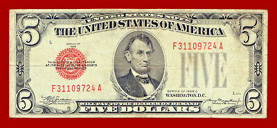 """1928-C """"united States Note"""" Five Dollar (Red Seal) $5 Note 9724"""