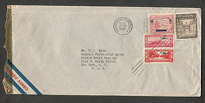 1943 WWII censor cover Guatemala to T Ryan United Fruit Co Pier 3 North River NY