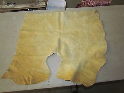 "Native American Light Coloured Home Tanned Moose Hide Soft 32"" In By 26"" In"