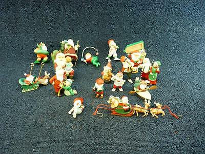 Lot of 15 Hallmark SANTA CLAUS Christmas Ornaments CUTE NO BOXES (o1129)