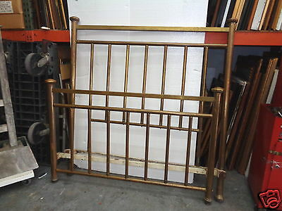 Antique Early 1900's Full Size Brass Bed Headboard Footboard & Iron Siderails