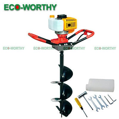 """2.2HP 1.8KW Gas Powered Post Hole Digger W/ 8"""" Auger Drill Bit 52CC Power Engine"""