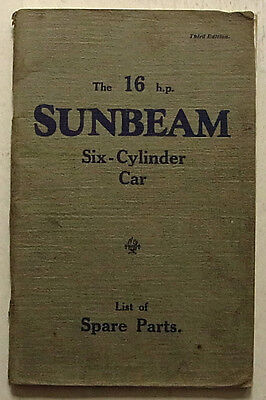 SUNBEAM 16 HP SIX CYLINDER CAR Illutrated Parts List June 1930 #337 Seires 3001
